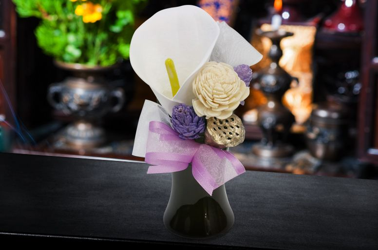 葬儀が仏式だった場合のおすすめの弔電「仏花ソープフラワー 静」