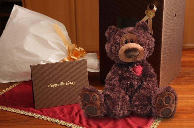 クマのぬいぐるみ「バースデー チョコレートベア」