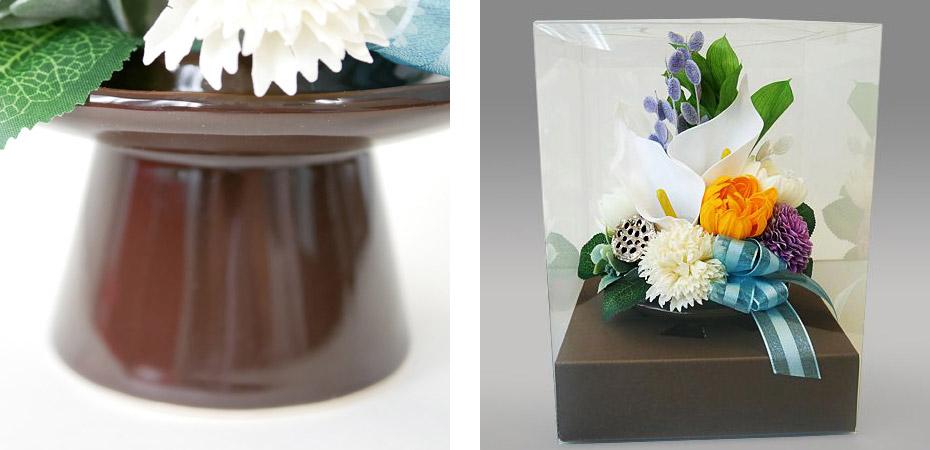 華やかな仏花・供花ソープフラワーの弔電「哀惜」の陶器