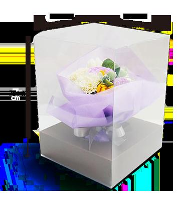 仏花・供花ソープフラワーの弔電「紫音」のクリアケース