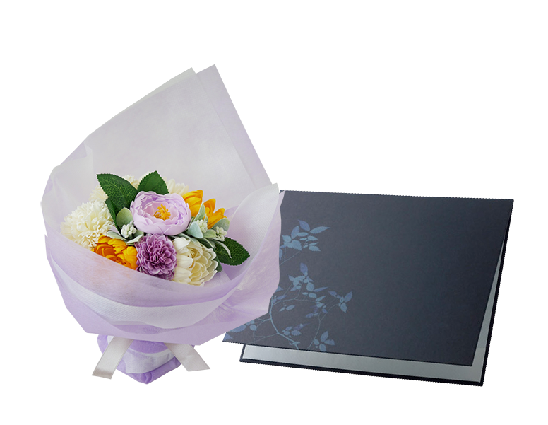 花束にアレンジした仏花・供花ソープフラワーのお悔やみ電報「仏花ソープフラワー 紫音」