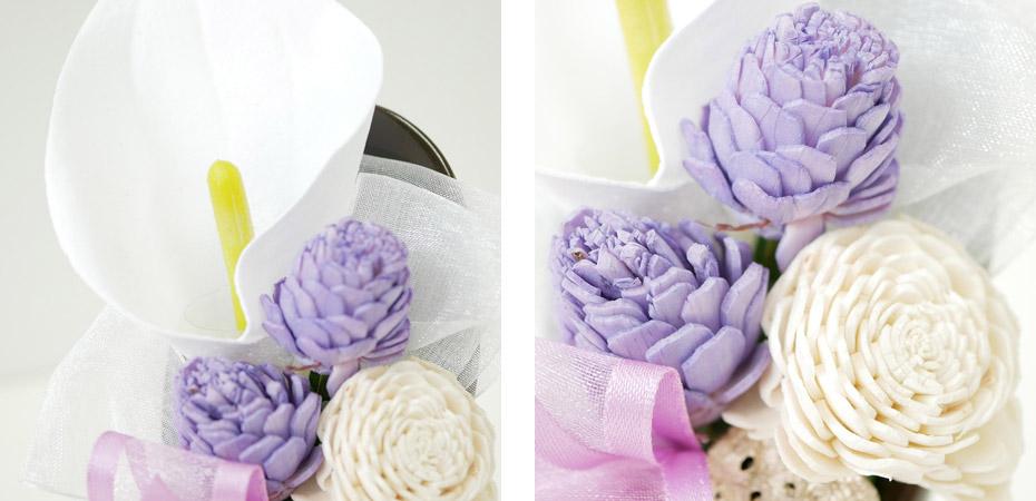 優雅なカラーをあしらった仏花・供花ソープフラワー弔電