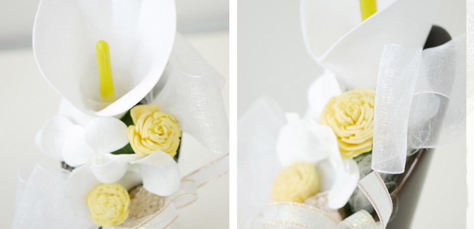 カラーと紫陽花の仏花・供花ソープフラワー弔電