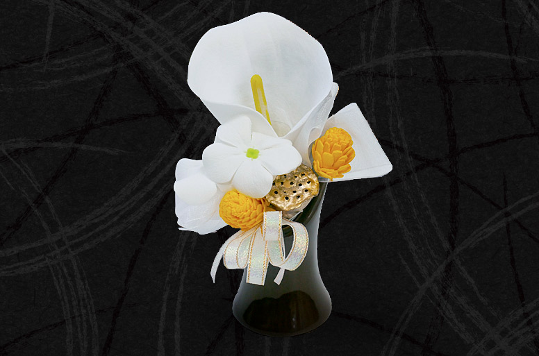 ソープフラワーの仏花がセットになった人気のお悔やみ電報「仏花ソープフラワー 凛」